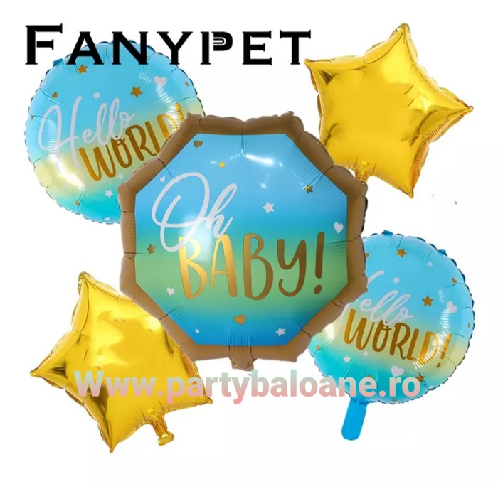 Set de 5 baloane din folie botez Oh Baby
